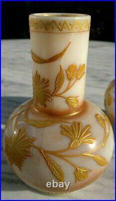 Antique Bohemian Harrach Opaline Glass Gilt Enameled Bud Posy Vases 4.75 tall