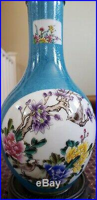 Antique CHINESE CERAMIC PORCELAIN VASES HAND PAINTED Green &white 9 Inches Tall