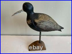 Antique Carved Wood Hand Painted Shore Bird Sculpture 11-1/2 Tall With Stand