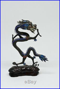 Antique Chinese Enamel Dragon Statue 6 inches tall