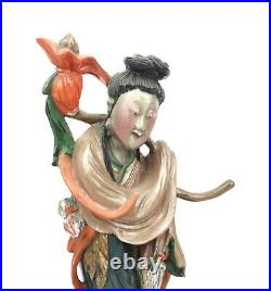 Antique Chinese Guanyin Immortal Carved Figure Polychrome Wood 10.5 Tall
