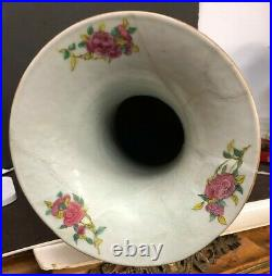 Antique Chinese Hand Painted Enamel On Porcelain Tall Vase Height 24