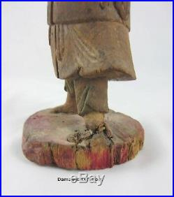 Antique Chinese Wood Carving Statue Of Qing Nobleman, Polychrome Lacquer 8 Tall