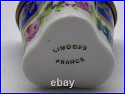 Antique Elegant Hand Painted Tall Heart France Floral Limoges Trinket Box
