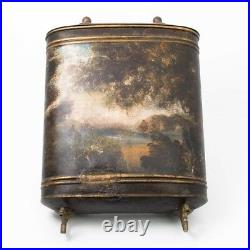 Antique French Lavabo Tin Toleware Painted Tank Dual Spouts 27 Tall Hand Wash
