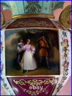 Antique French Sevres Limoges Porcelain Vase Hand Painted Gilt Trim 14 Tall