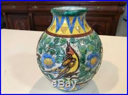 Antique GG & Co New York, Italy Hand Painted Art Pottery Vase, 7 Tall, 6 Wide
