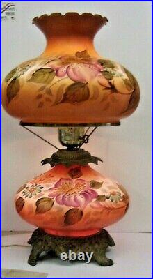 Antique GONE WITH THE WIND LAMP Hand Painted Floral Lamp 3 Way 23 tall