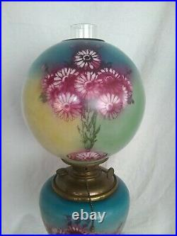 Antique GWTW Hand Painted Electric / Oil Lamp with Thistle 25.5 tall unique