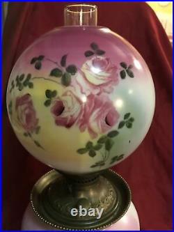 Antique GWTW Parlor Lamp Electric Floral Handpainted Pink 22 Tall