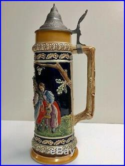 Antique German 1 1/2 Liter Lidded Beer Stein, hand painted 14 Tall