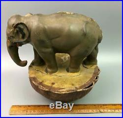 Antique German Roly Poly Hand Painted Paper Mache Elephant 9.75 Tall Toy nb