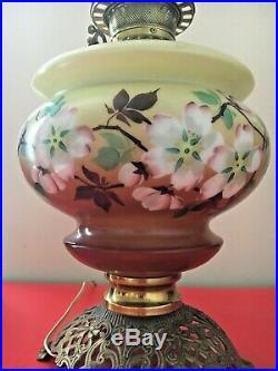 Antique Gone with the Wind Banquet Parlor Lamp with Hand Painted Flowers Tall