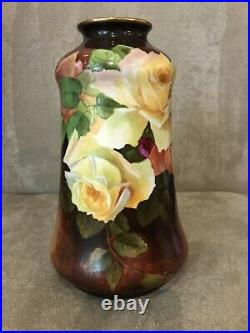 Antique Habsburg Austria Handpainted YELLOW ROSES Vase Roses Signed P. Cary Tall