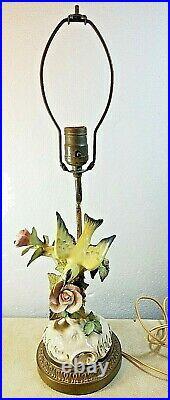 Antique Hand Painted Bird & Flowers Figural Porcelain Lamp Brass Base 22 Tall