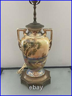 Antique Hand Painted Country Scene Porcelain Loving Cup Style 30 Tall Lamp