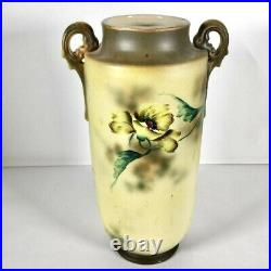 Antique Hand Painted Vase With Applied Gold 16 Tall