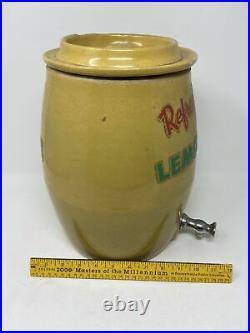 Antique Handpainted Stoneware Lidded Crock 12 Tall Lemonade Stencil Spout
