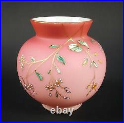 Antique Harrach 4 3/4 Tall Rose Cranberry Bowl Cased Hand Painted Glass Vase