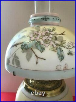 Antique Hurricane Lamp 20 Tall-with Hand Painted Flower Shades 3-Way light