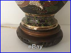 Antique Japanese Satsuma Handpainted Table Lamp, 31 Tall (Bottom to Top)