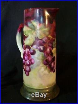 Antique LIMOGES France Huge Tall Hand Painted Porcelain Pitcher Ewer Grapes
