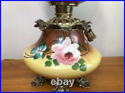 Antique Large Hand Painted Gone With The Wind Lamp, Perfect Condition, 26 Tall
