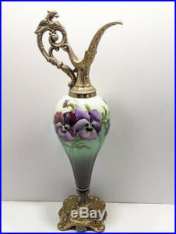 Antique Limoges Ewer Pitchers Hand Painted Pansies 15 Tall Decoration Only