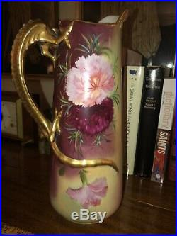 Antique Limoges Tankard Pitcher Chocolate Pot Floral Dragon Handle JPL 11 tall