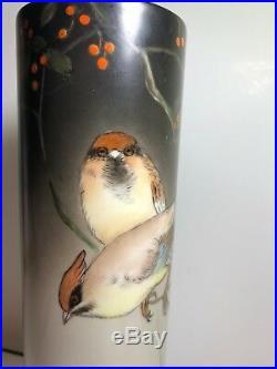 Antique M Z Austria porcelain tall vase hand painted birds and vines