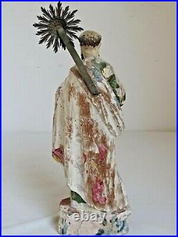 Antique Mexican Santo Figure Hand Carved Original Paint 13 Tall 18th c