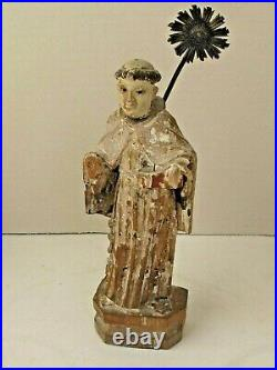 Antique Mexican St. Anthony Figure Hand Carved Original Paint 10 Tall 19th c