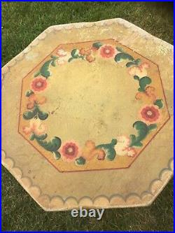 Antique Monterey Mason Furniture LA Western Tall Fancy Painted Table 30 Signed
