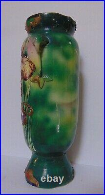 Antique Moriage Art Nouveau Tall Vase Floral Hand Painted
