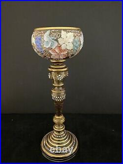 Antique Moser Heavy Gold Encrusted Enameled Jeweled Stem Wine Glass 9 1/2 Tall