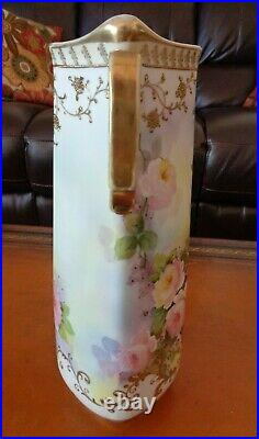 Antique Nippon Hand Painted Vase, Roses & Gold, Tall 13