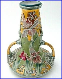 Antique Nippon Moriage Porcelain Vase withHand Painted Orchids 7-1/2tall Unsigned