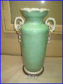 Antique Old Paris Porcelain Vase Hand Painted With Girl & Lamb 18 1/2 Tall