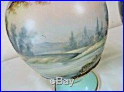 Antique Paris Porcelain Vases Hand Painted Large 31cm Tall circa 1850-1860