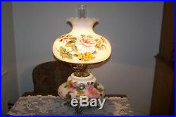 Antique Parlor Lamp Handpainted shabby pink Roses on white 26 Tall STUNNING