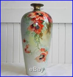 Antique Porcelain 13 Hand Painted Tall Vase Jean Pouyat Limoges France Floral