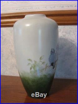 Antique Porcelain Hand Painted Vase Birds Signed by Artist H. Schubert 12 Tall