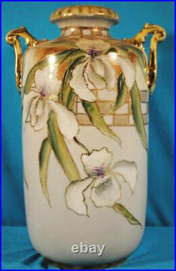 Antique Porcelain Nippon 11 Tall Hand Painted Decorated Orchids Handled Vase