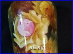 Antique ROYAL BONN Germany Tall Hand Painted Fine Porcelain Vase c1890 ROSES