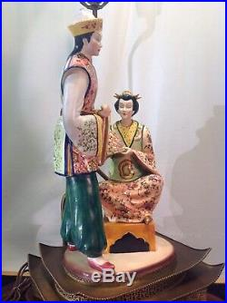 Antique Rare Hand Painted Asian Porcelain Solid Brass Ornate Table Lamp 35 tall