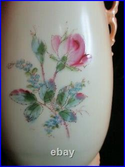 Antique Rare Intricate Cut 2 Handles Pink Roses Hand Painted Vase 11 1/2 Tall