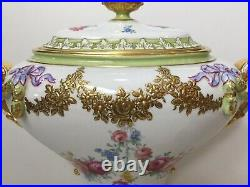 Antique Royal Trianon Hand Painted Floral & Gold Urn Vase Covered Pot, 14 Tall