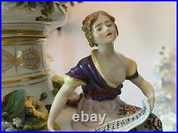 Antique Royal Vienna Hand Painted Covered Urns, 23 Inches Tall