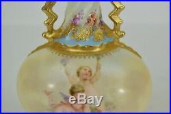 Antique Royal Vienna Hand Painted Vase Bottle Cherub Babies 8 3/4 Tall