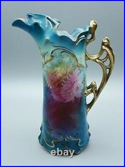 Antique Royal Vienna Pitcher With Floral Motif Hand Painted 8.5 Tall